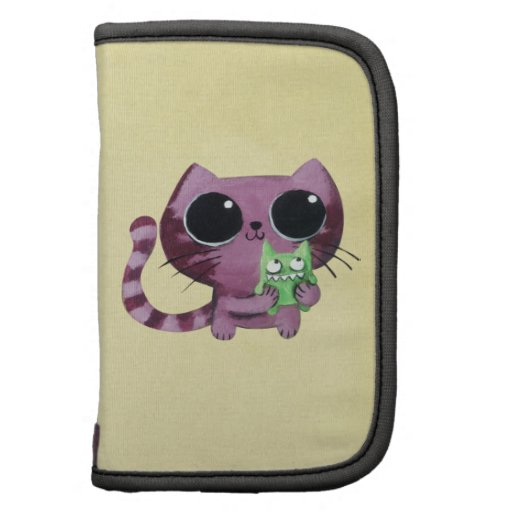 Cute Kitty Cat with Little Green Monster Folio Planners