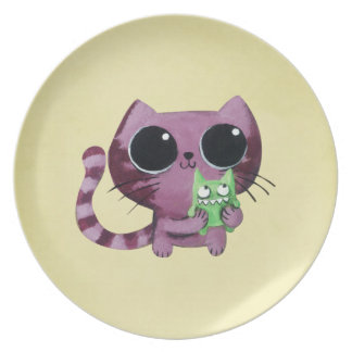 Cute Kitty Cat with Little Green Monster Plate