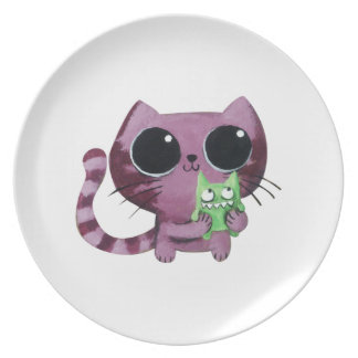 Cute Kitty Cat with Little Green Monster Party Plate