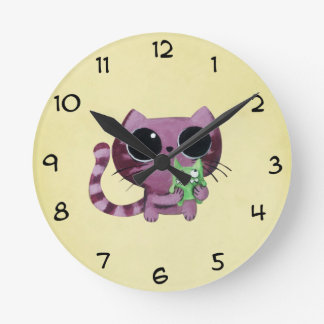 Cute Kitty Cat with Little Green Monster Round Clock