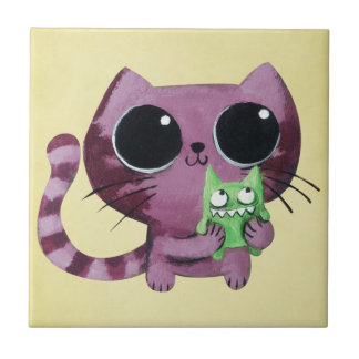 Cute Kitty Cat with Little Green Monster Ceramic Tiles