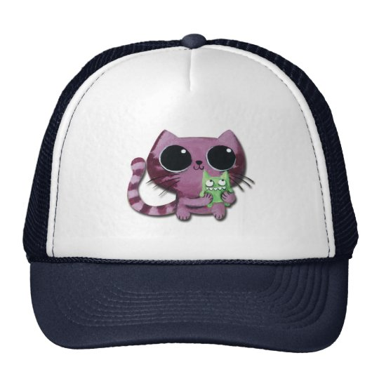 Cute Kitty Cat with Little Green Monster Trucker Hat