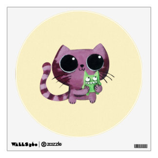 Cute Kitty Cat with Little Green Monster Wall Decal