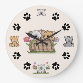 Cute Kitty Cats and Paw Prints Large Clock