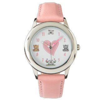Cute Kitty Cats and Pink Heart Wrist Watch