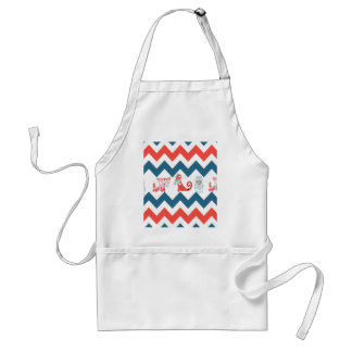 Cute Kitty Cats Blue Coral Chevron Stripes Pattern Adult Apron