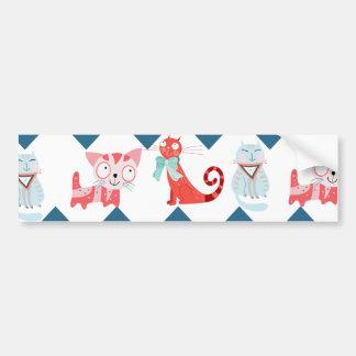 Cute Kitty Cats Blue Coral Chevron Stripes Pattern Bumper Sticker