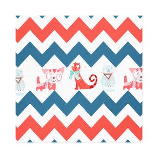 Cute Kitty Cats Blue Coral Chevron Stripes Pattern Canvas Print