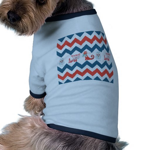 Cute Kitty Cats Blue Coral Chevron Stripes Pattern Doggie Tee Shirt