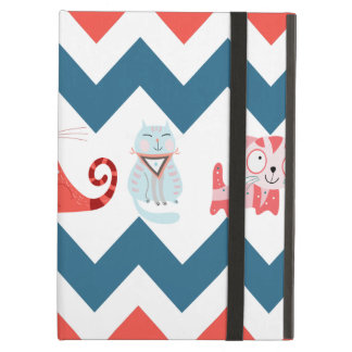 Cute Kitty Cats Blue Coral Chevron Stripes Pattern iPad Case