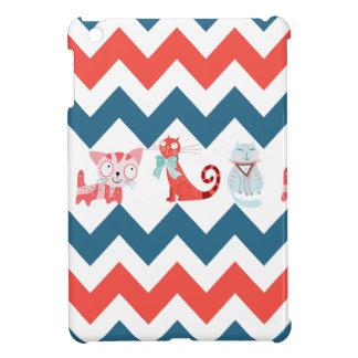 Cute Kitty Cats Blue Coral Chevron Stripes Pattern iPad Mini Cover