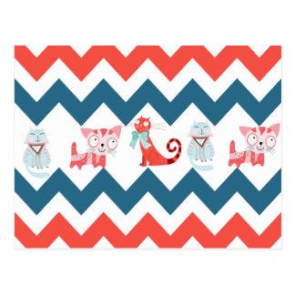 Cute Kitty Cats Blue Coral Chevron Stripes Pattern Postcard