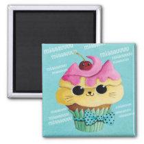 artsprojekt, cupcake cat, cute cupcake, kawaii, cute food, kawaii cat, kawaii cupcake, cat, kitten, cupcake, kawaii food, kitty cat, children, kids, kid, illustration, children illustration, nursery, Ímã com design gráfico personalizado
