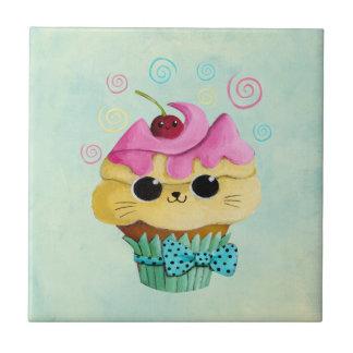 Cute Kitty Cupcake Ceramic Tile