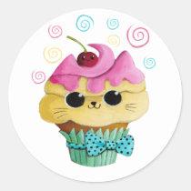 artsprojekt, cupcake cat, cute cupcake, kawaii, cute food, kawaii cat, kawaii cupcake, cat, kitten, cupcake, kawaii food, kitty cat, children, kids, kid, illustration, children illustration, nursery, Sticker with custom graphic design