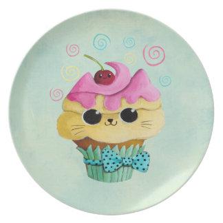 Cute Kitty Cupcake Dinner Plates