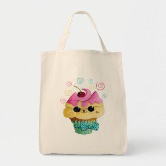 Cute Kitty Cupcake Grocery Tote Bag