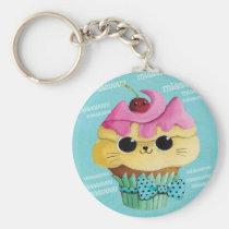 artsprojekt, cupcake cat, cute cupcake, kawaii, cute food, kawaii cat, kawaii cupcake, cat, kitten, cupcake, kawaii food, kitty cat, children, kids, kid, illustration, children illustration, nursery, Keychain with custom graphic design