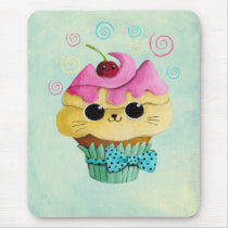 artsprojekt, cupcake cat, cute cupcake, kawaii, cute food, kawaii cat, kawaii cupcake, cat, kitten, cupcake, kawaii food, kitty cat, children, kids, kid, illustration, children illustration, nursery, Mouse pad com design gráfico personalizado