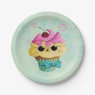 Cute Kitty Cupcake Paper Plate