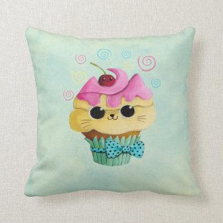 Cute Kitty Cupcake Throw Pillow