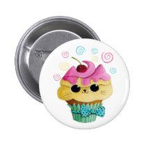 artsprojekt, cupcake cat, cute cupcake, kawaii, cute food, kawaii cat, kawaii cupcake, cat, kitten, cupcake, kawaii food, kitty cat, children, kids, kid, illustration, children illustration, nursery, Button with custom graphic design