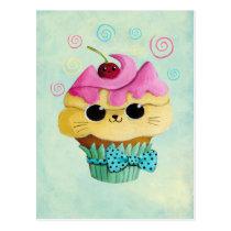 artsprojekt, cupcake cat, cute cupcake, kawaii, cute food, kawaii cat, kawaii cupcake, cat, kitten, cupcake, kawaii food, kitty cat, children, kids, kid, illustration, children illustration, nursery, Cartão postal com design gráfico personalizado