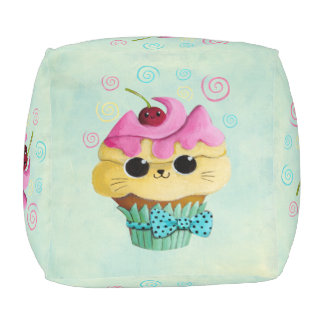 Cute Kitty Cupcake Pouf