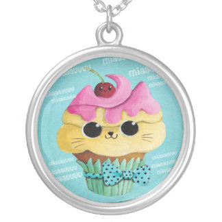 Cute Kitty Cupcake Round Pendant Necklace