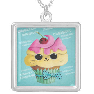 Cute Kitty Cupcake Square Pendant Necklace