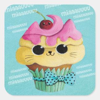 Cute Kitty Cupcake Square Sticker