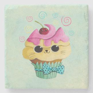 Cute Kitty Cupcake Stone Coaster