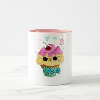 Cute Kitty Cupcake Two-Tone Coffee Mug