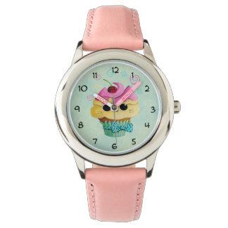 Cute Kitty Cupcake Wrist Watch