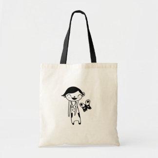 cute kitty doll black tote bag
