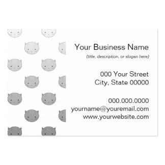 Cute Kitty Faces in Black White Grey Large Business Cards (Pack Of 100)