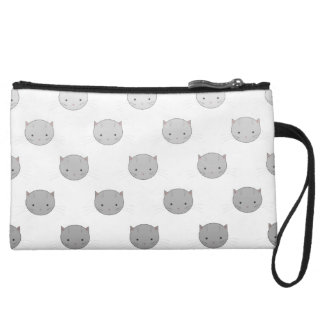 Cute Kitty Faces in Black White Grey Wristlet