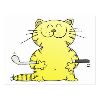 Cute Kitty Golfer Postcard