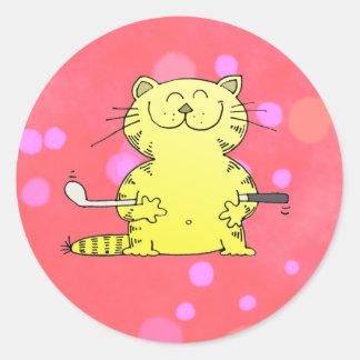 Cute Kitty Golfer Red Back Ground Classic Round Sticker