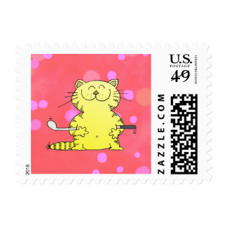 Cute Kitty Golfer Red Back Ground Postage
