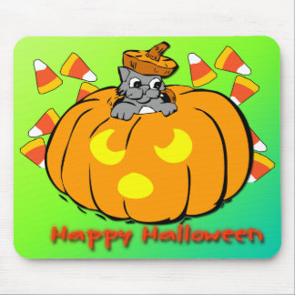 Cute Kitty Halloween Pumpkin Mousepad
