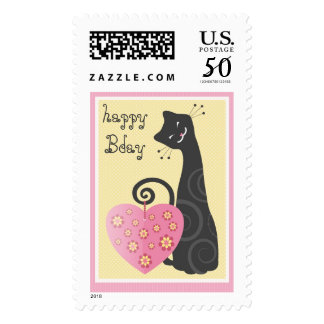 Cute Kitty Happy Birthday Postage Stamp