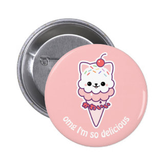Cute Kitty Ice Cream Pinback Button