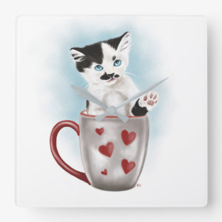 Cute Kitty In A Cup Square Wall Clock