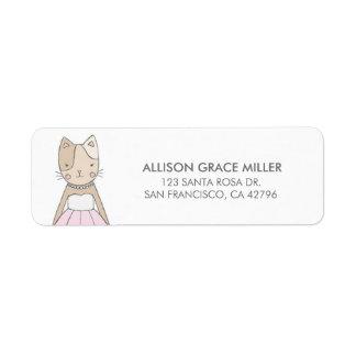 Cute Kitty in a Dress Return Address Labels