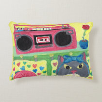 Cute Kitty in Bedroom Folk Art Accent Pillow