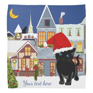 Cute Kitty in Christmas Wonderland Bandana