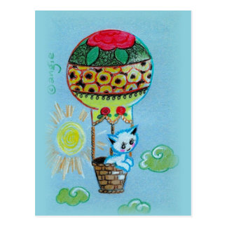 Cute Kitty in Hot Air Baloon Postcard