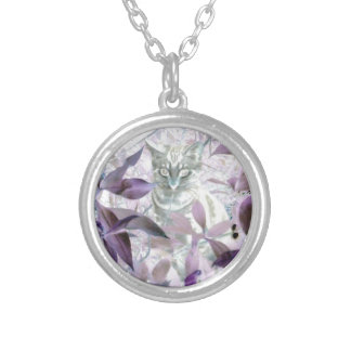 Cute Kitty in the bushes, purple abstract art Silver Plated Necklace