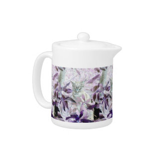Cute Kitty in the bushes, purple abstract cat Teapot
